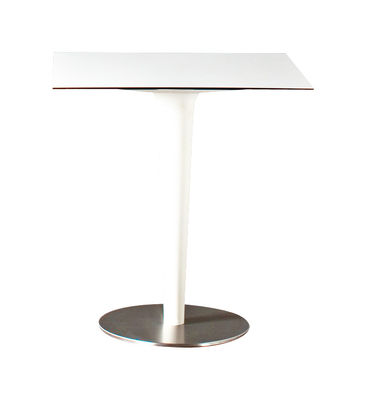 Outdoor - Tavoli  - Tavolo rotondo Pile Up - 66 x 66 cm di Serralunga - Bianco - HPL, Polietilene