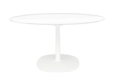 Outdoor - Tische - Multiplo Tisch Glas / Ø 78 cm - Kartell - Tischplatte transparent / weiß - Glas, klarlackbeschichtetes Aluminium