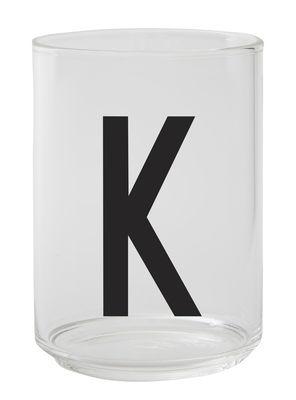 Verre Arne Jacobsen / Verre borosilicaté - Lettre K - Design Letters transparent en verre