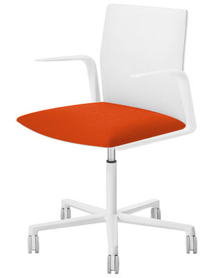 Furniture - Office Chairs - Kinesit Armchair on casters - Padded by Arper - White / Red cushion - Fabric, Foam, Lacquered aluminium, Polypropylene