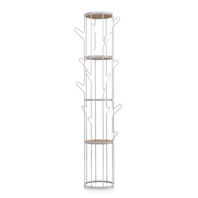 Arredamento - Scaffali e librerie - Attaccapanni in piedi Albero - / Mensola - Ø 32 x H 177 cm di Pallucco -  - Acciaio verniciato, Legno
