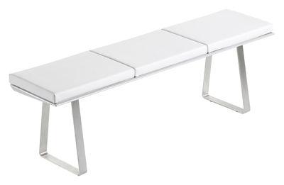 Mobilier - Bancs - Banc Extrados avec coussins Vinyle / L 172 cm - 3 places - EGO Paris - Coussins blancs / structure inox brossé - Aluminium laqué, Inox brossé, Vinyle marin