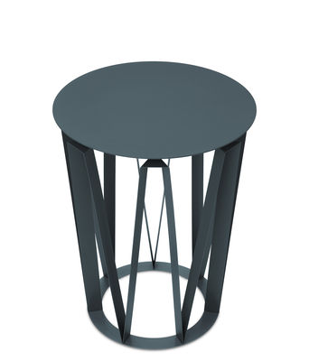 Möbel - Couchtische - Arlette Beistelltisch / Ø 37 cm x H 48 cm - Metall - Presse citron - Granitgrau - Tôle d'acier laquée