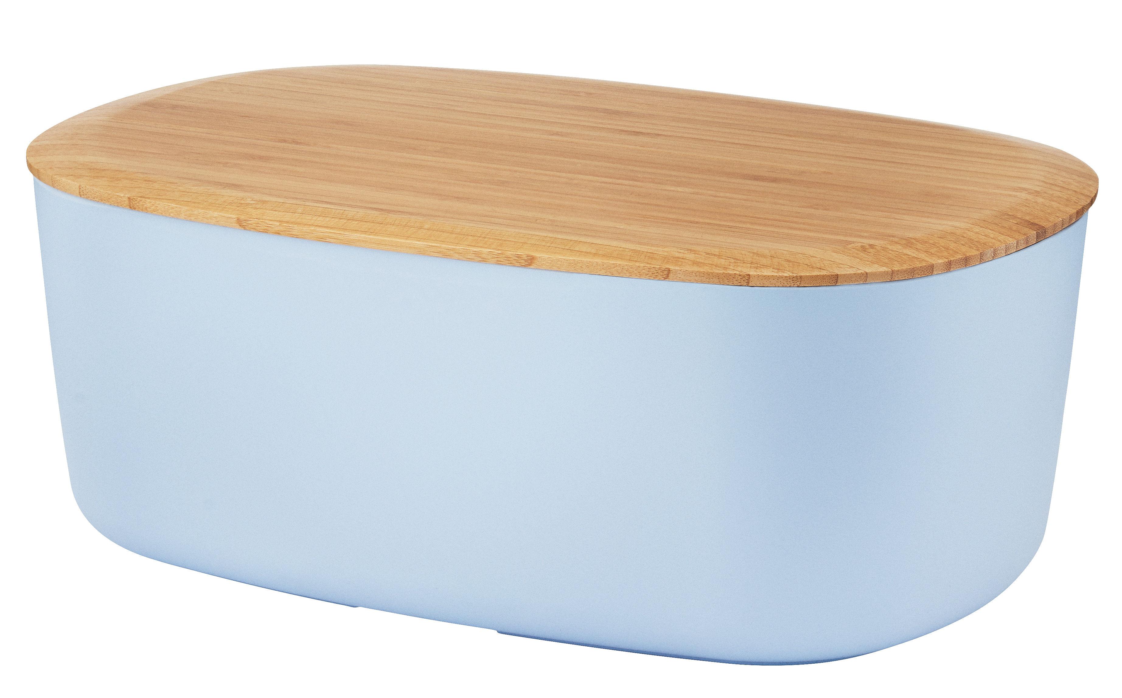 Küche - Dosen, Boxen und Gläser - Brotkasten / mit Schneidebrett als Deckel - Stelton - Blau / holzfarben - Bambus, Melamin