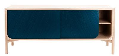 Mobilier - Commodes, buffets & armoires - Buffet Marius / Meuble TV - L 155 x H 65 cm - Hartô - Bleu pétrole & chêne naturel - Chêne massif, MDF plaqué chêne