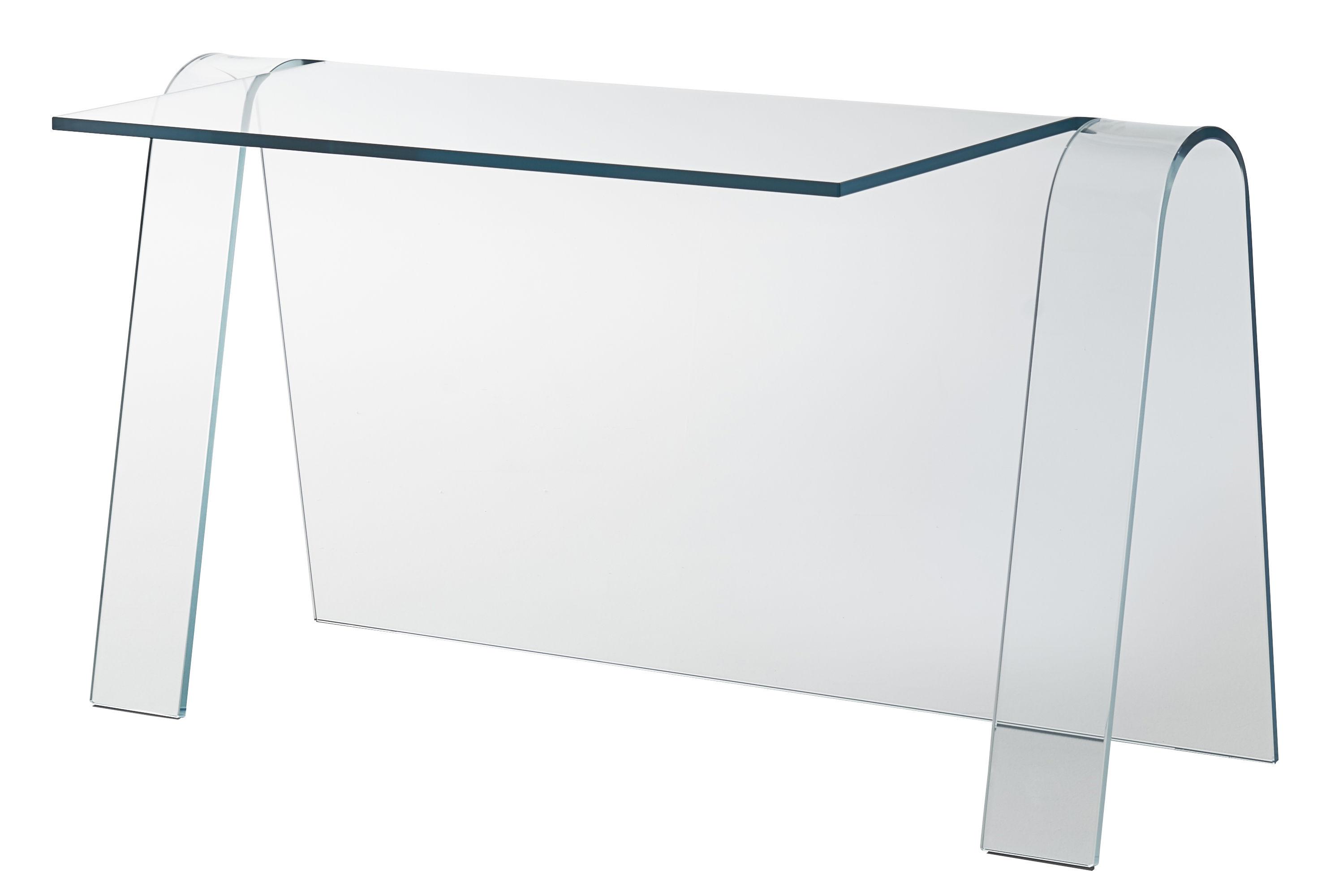 Mobilier - Bureaux - Bureau Folio / Verre - L 133 cm - Glas Italia - Transparent - Verre extra-clair
