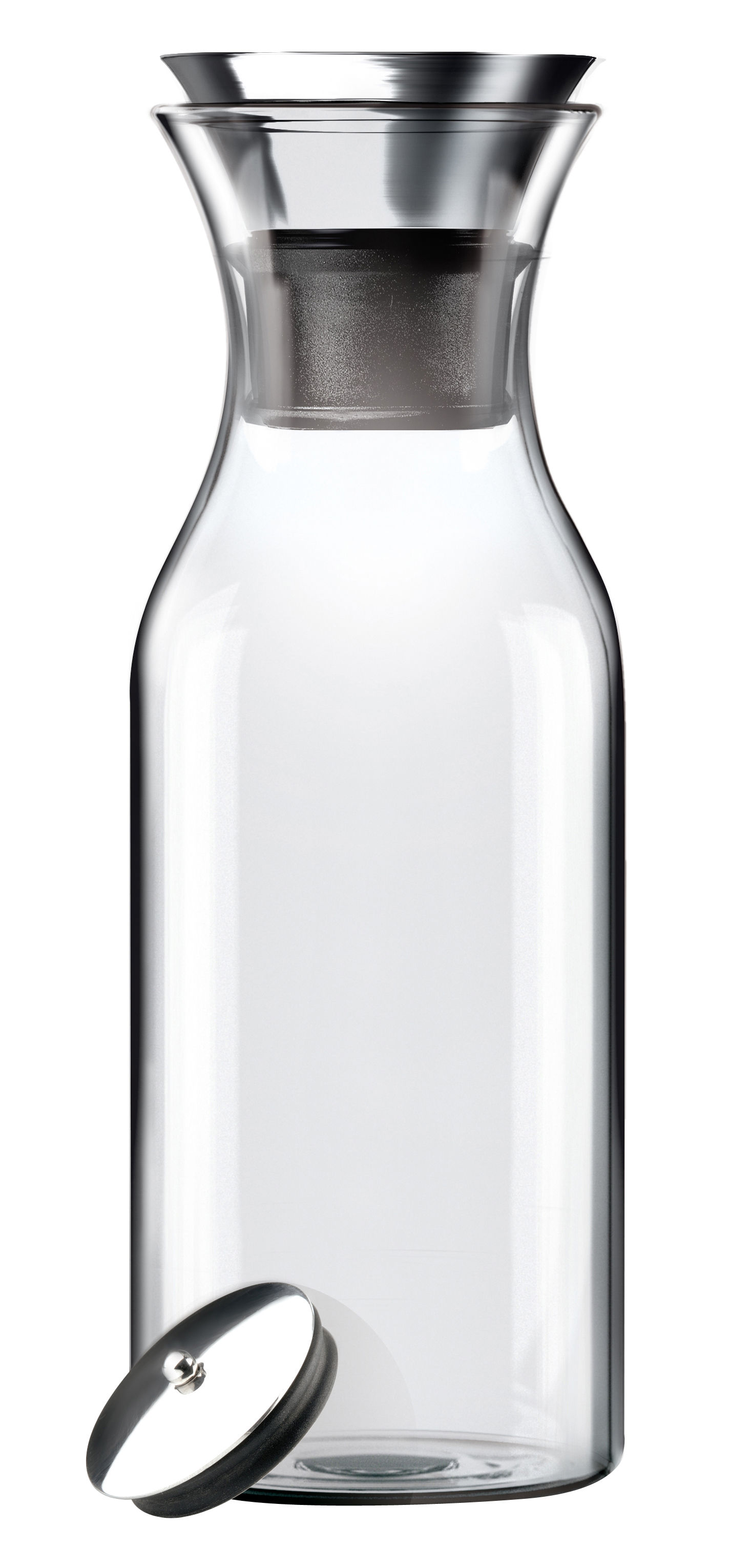 Tableware - Water Carafes & Wine Decanters - Stoppe-goutte Carafe - 1 L by Eva Solo - Clear - Glass, Silicone, Stainless steel