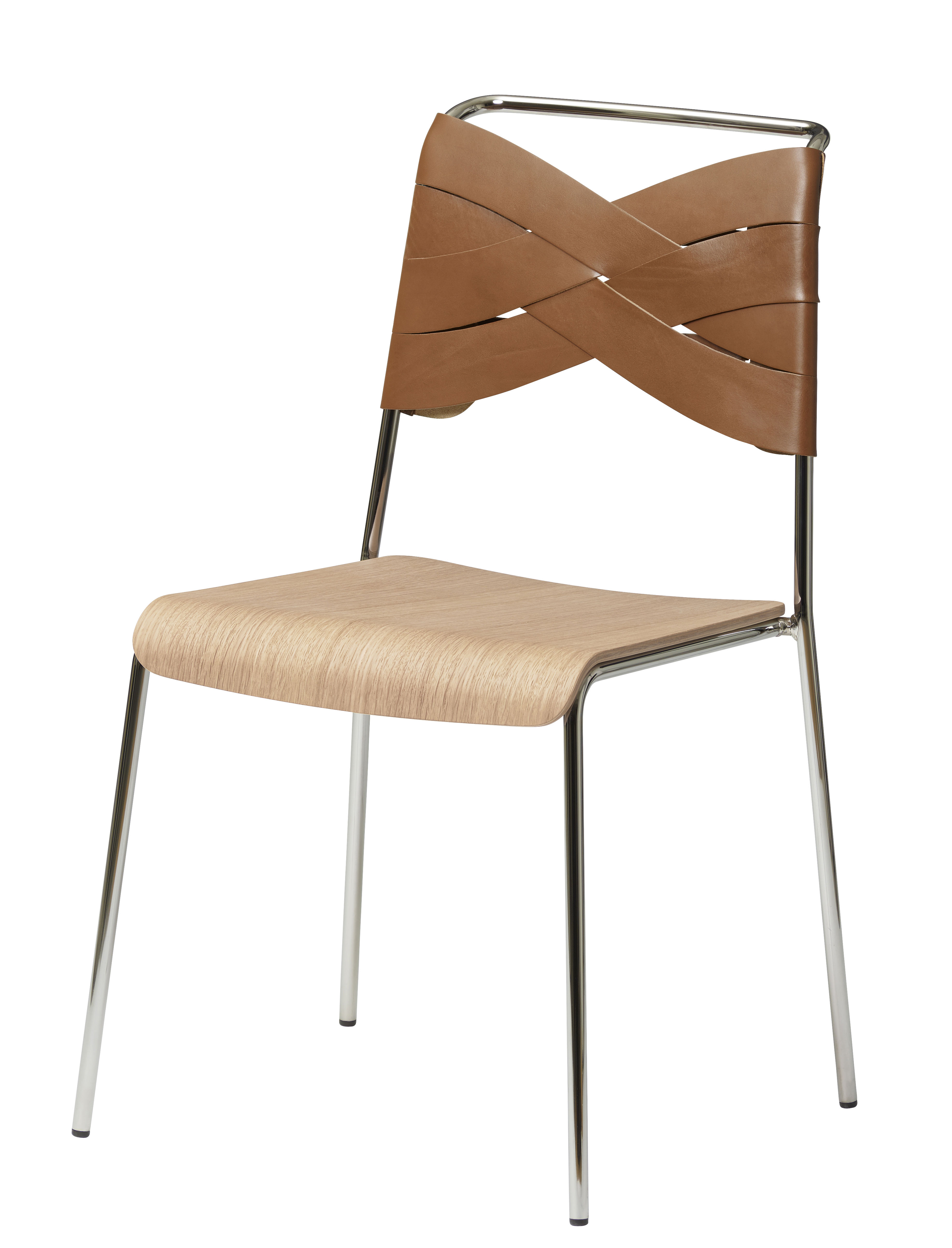 Furniture - Chairs - Torso Chair - Leather by Design House Stockholm - Cognac leather / Oak seat - Chromed metal, Genuine leather, Natural oak plywood