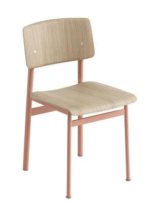 Mobilier - Chaises, fauteuils de salle à manger - Chaise Loft / Bois & métal - Muuto - Rose poudré / Chêne - Acier laqué époxy, Contreplaqué de chêne