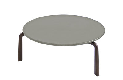Furniture - Coffee Tables - Cross Small Coffee table - / Ø 70 cm - Metal by Emu - Grey / India brown legs - Varnished steel