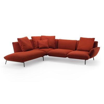 Furniture - Sofas - Dove Corner sofa - / With left-corner chaise longue - 292 x 253 cm by Zanotta - Sofa / Coral - Fabric, Polyester fiber, Steel, Variable density polyurethane, Varnished aluminium alloy, Wood