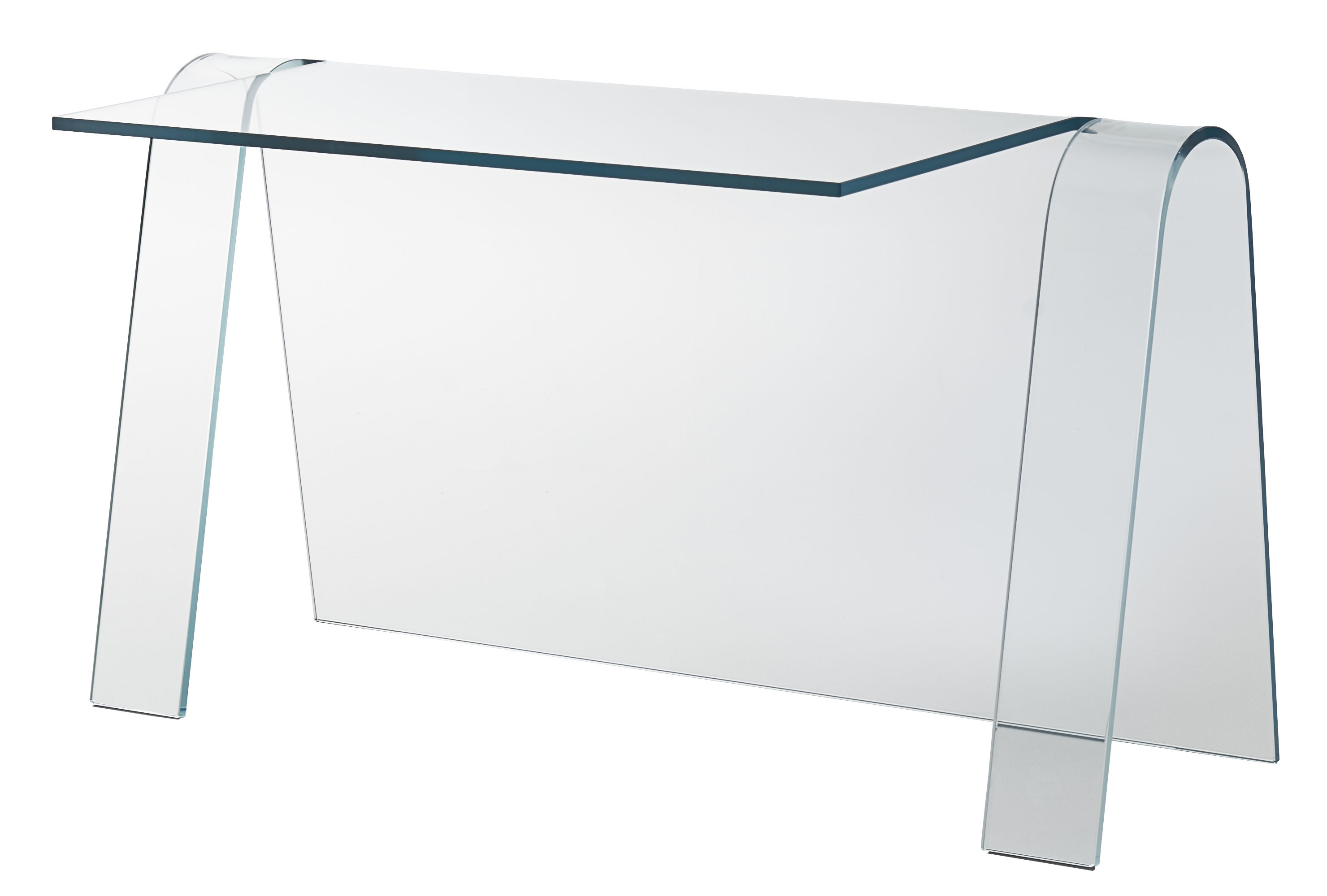 Furniture - Office Furniture - Folio Desk - / Glass - L 133 cm by Glas Italia - Transparent - Extra-clear glass
