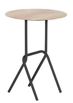 Furniture - Coffee Tables - Désiré End table - Pedestal table by Hartô - Slate grey - Metal, Oak