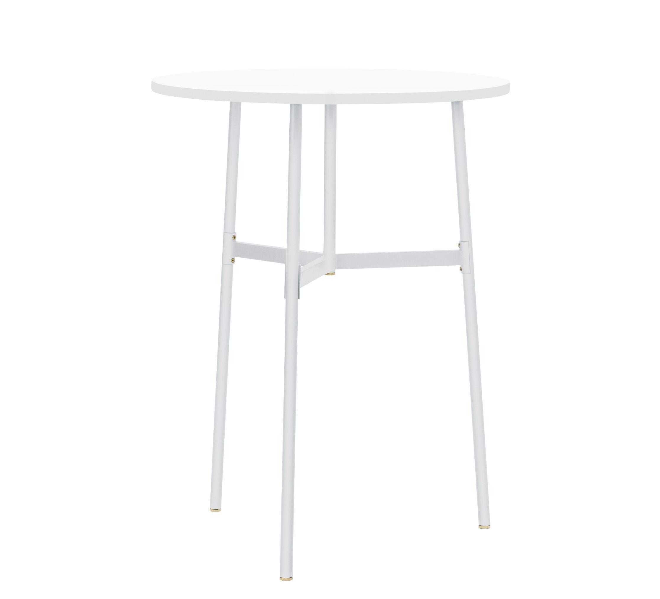 Möbel - Stehtische und Bars - Union hoher Tisch / Ø 80 cm x H 105,5 cm - Fenix-Laminat - Normann Copenhagen - Weiß - Stahl, Stratifié Fenix