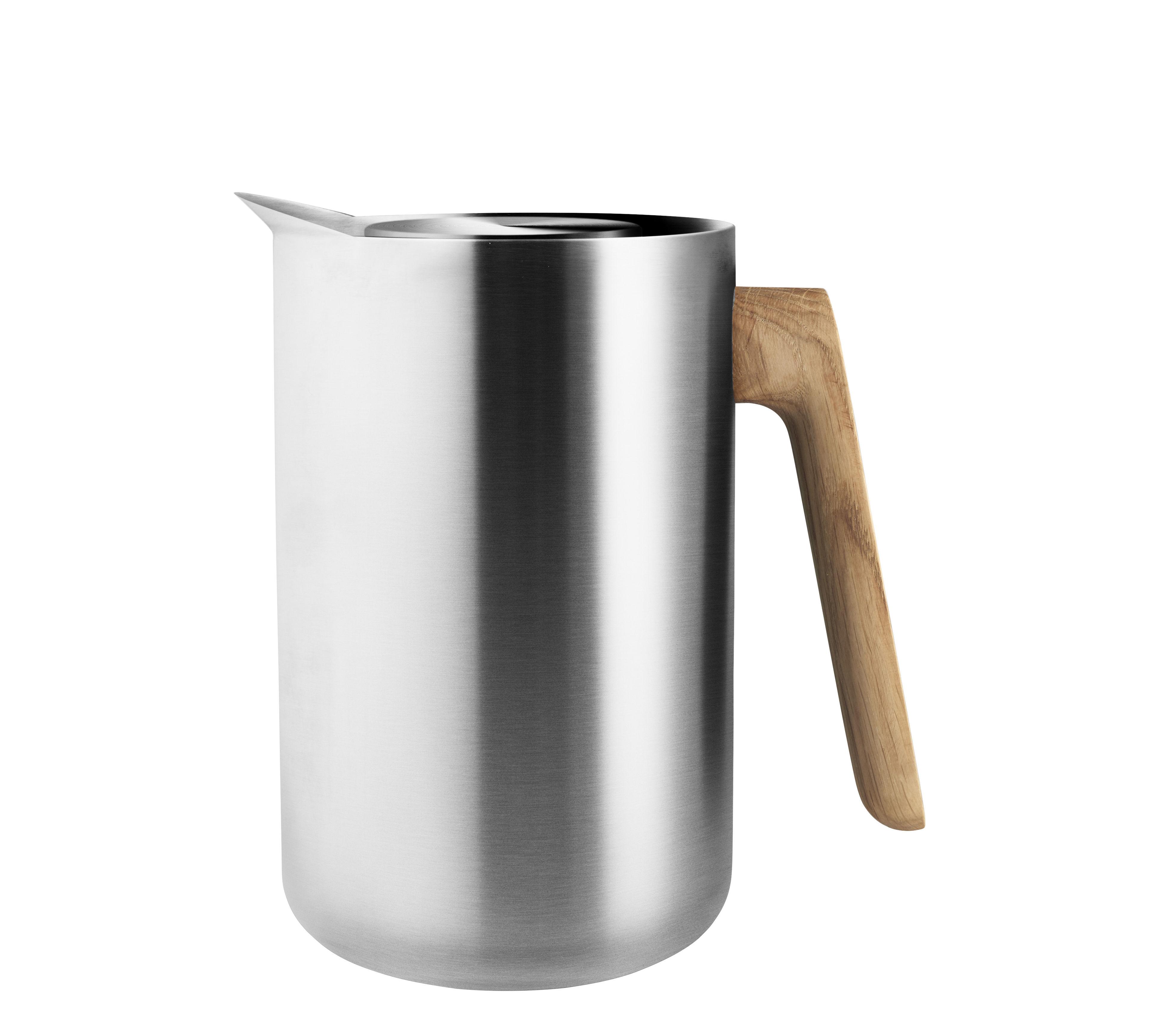 Tischkultur - Tee und Kaffee - Nordic Kitchen Isolierkrug / 1 l - Stahl & Eiche - Eva Solo - Edelstahl / Eiche - Eiche, Plastik, rostfreier Stahl