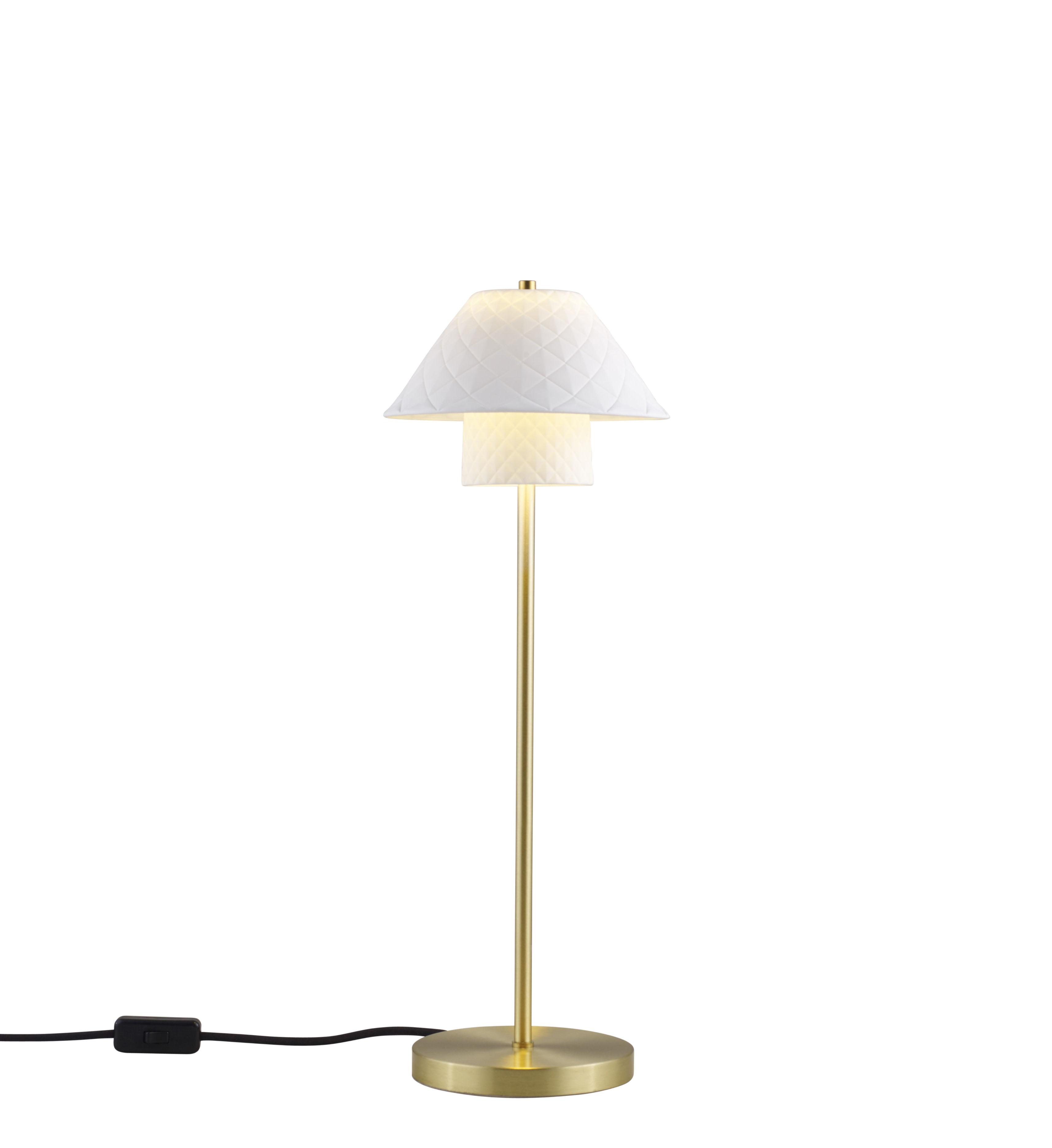 Illuminazione - Lampade da tavolo - Lampada da tavolo Oxford Double - / Ottone satinato & Porcellana di Original BTC - Bianco opaco / Ottone satinato - Ottone, Porcellana