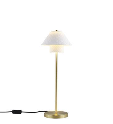 Luminaire - Lampes de table - Lampe de table Oxford Double / Laiton satiné & porcelaine - Original BTC - Blanc mat / Laiton satiné - Laiton, Porcelaine