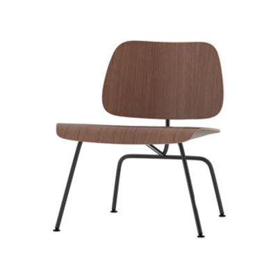 Furniture - Armchairs - Plywood Group LCM Low armchair - / By Charles & Ray Eames, 1945 by Vitra - Walnut / Black - Epoxy lacquered steel, Molded plywood, Walnut veneer