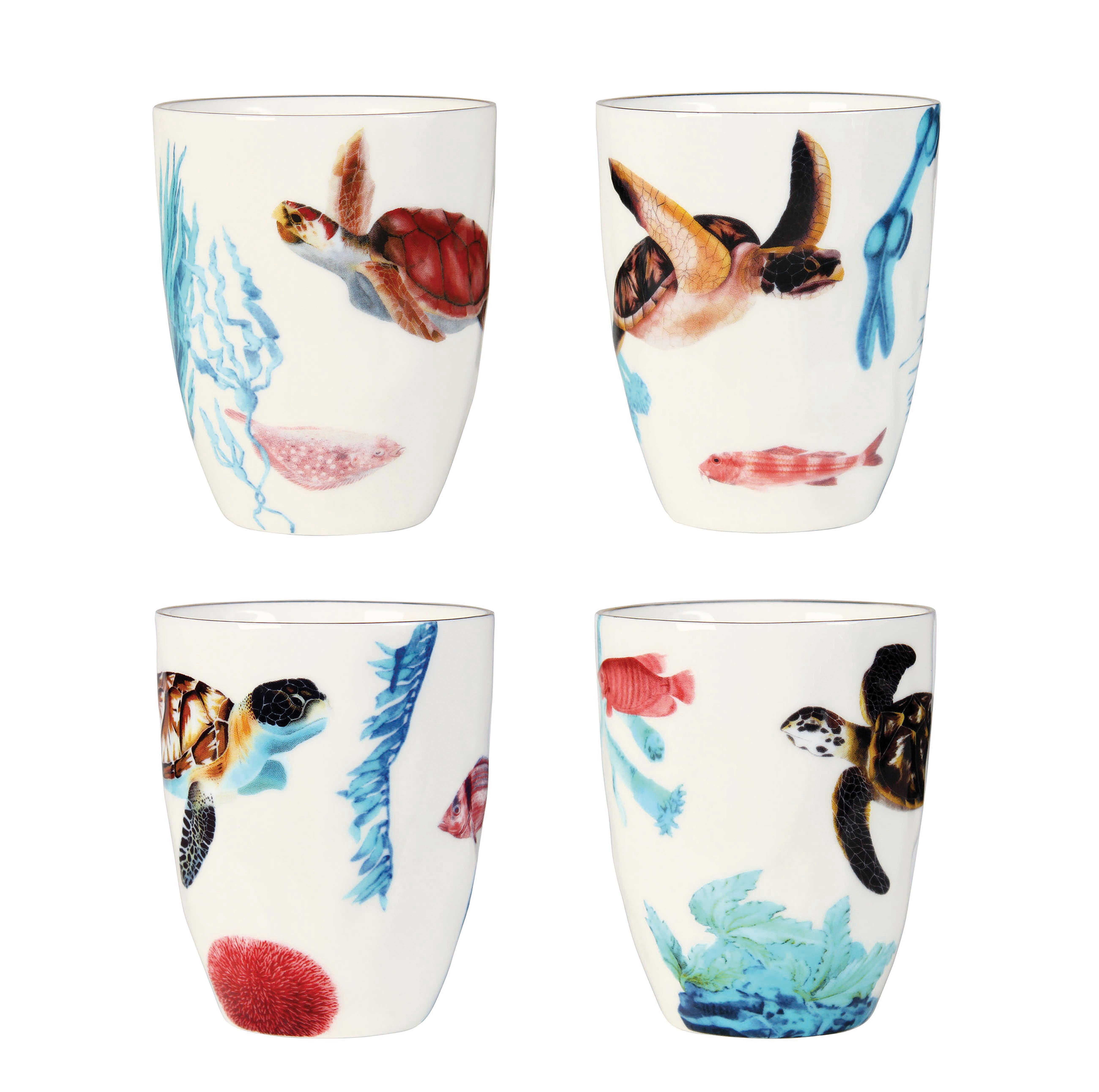 Tableware - Coffee Mugs & Tea Cups - Océan Mug - / Set of 4 - Porcelain by & klevering - Ocean / Multicoloured - Porcelaine fine