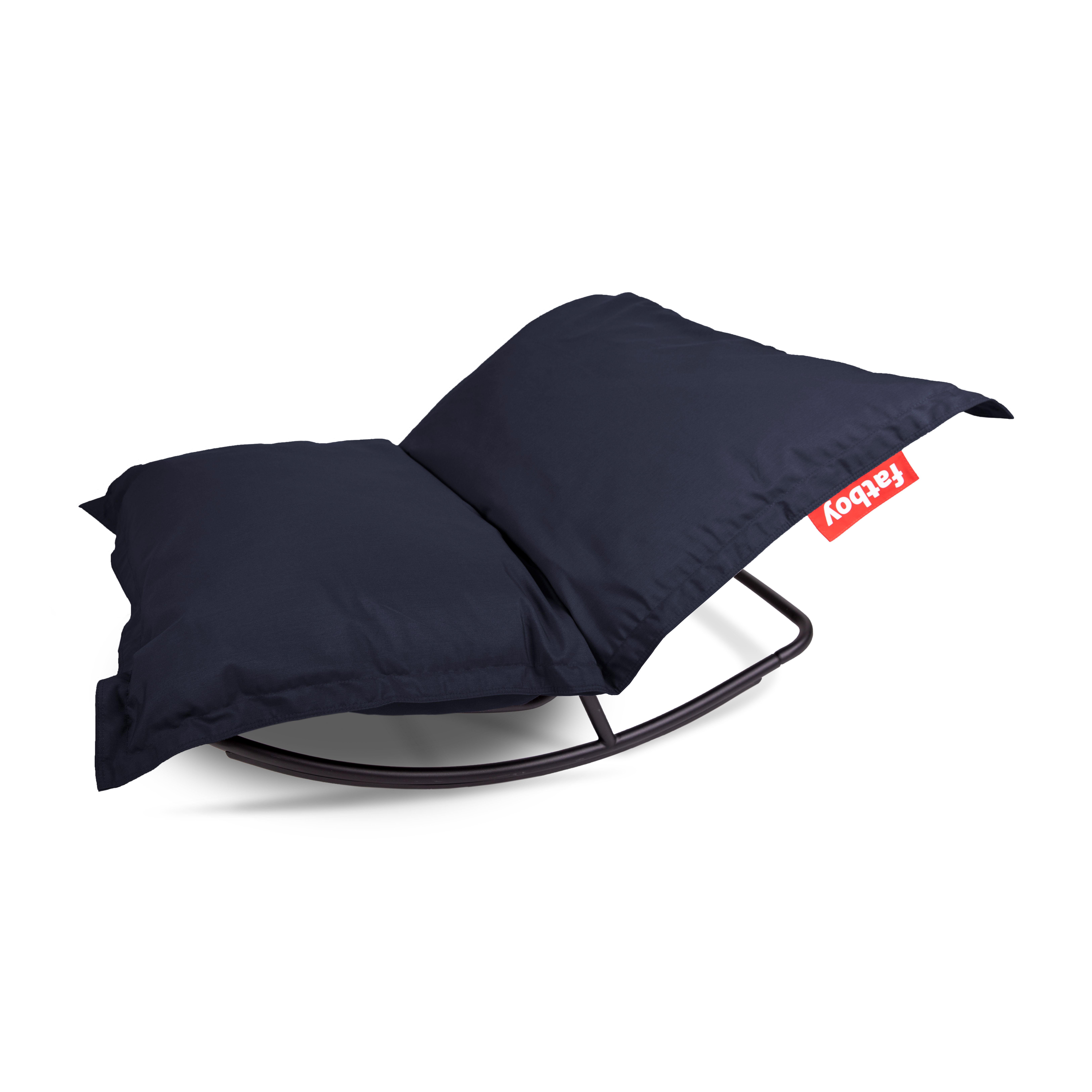 Mobilier - Poufs - Pack promo / Structure  Rock'n roll + Pouf The Original Outdoor - Pour l'extérieur - Fatboy - Bleu marine - Métal galvanisé, Micro-billes de polystyrène, Toile acrylique