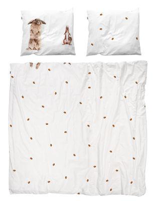 Déco - Textile - Parure de lit 2 personnes Furry friends / 240 x 220 cm - Snurk - Lapin & écureuil / Marron - Percale de coton