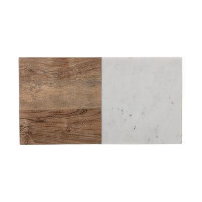 Arts de la table - Plats - Planche à découper Gya / 38 x 20,5 cm - Bois & marbre - Bloomingville - 30 x 20,5 cm / Blanc & bois - Bois d'acacia, Marbre