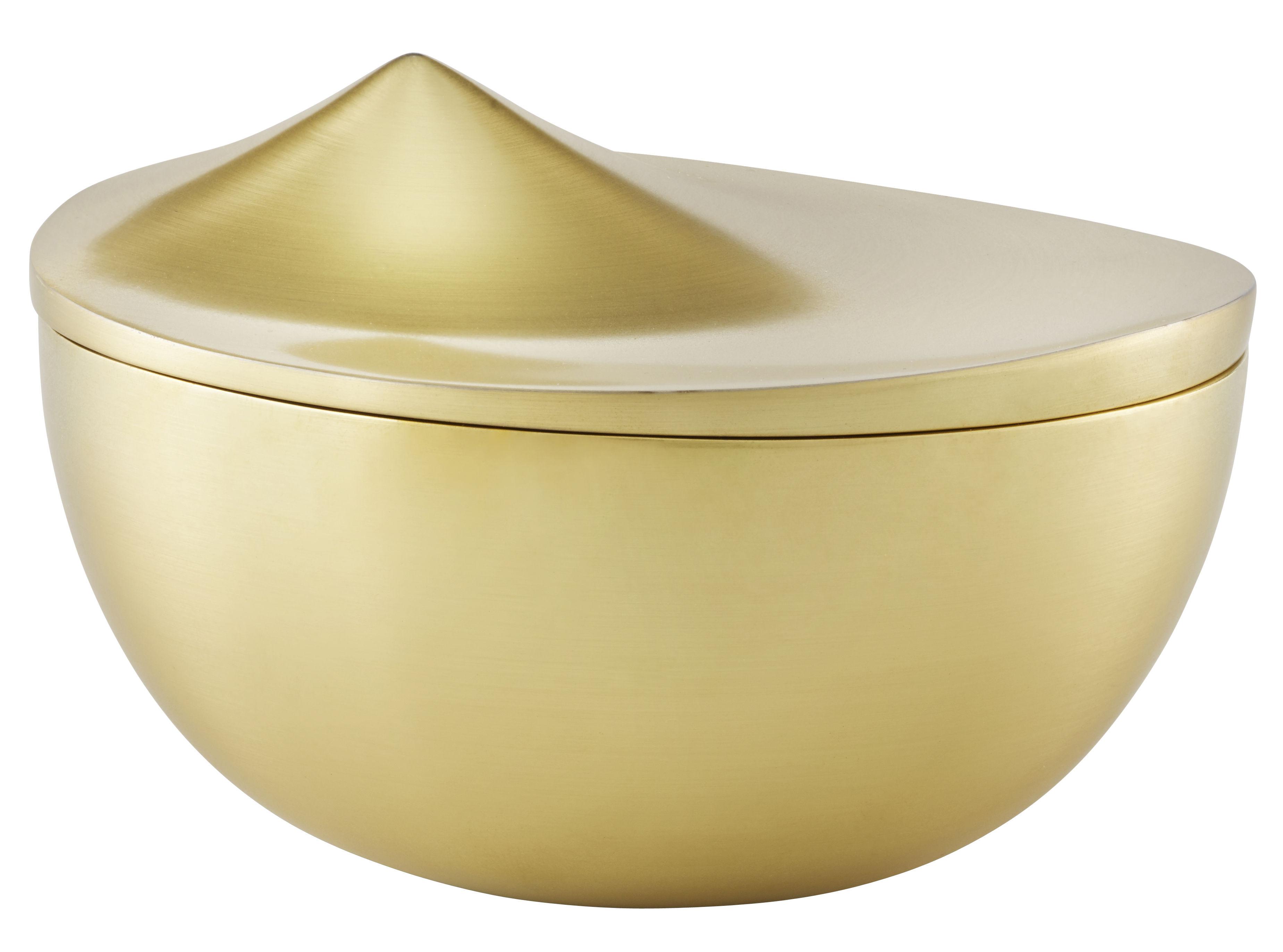Küche - Dosen, Boxen und Gläser - Peak Medium Schachtel / Messing - Ø 13 cm - Stelton - Medium / gebürstetes Messing - Aluminium, messingplatiert