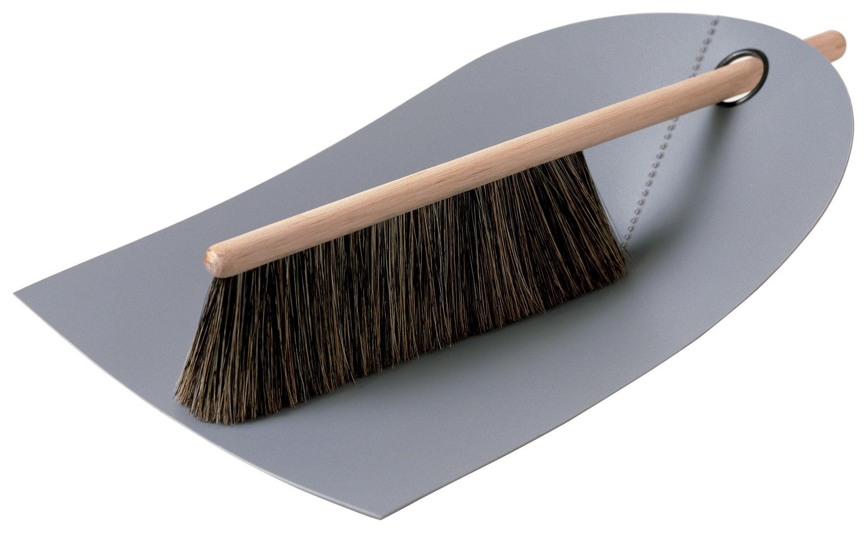 Cucina - Pulizia - Set scopa e paletta Dustpan & broom - Set 1 scopina + 1 paletta di Normann Copenhagen - Grigio chiaro - Faggio, Polipropilene