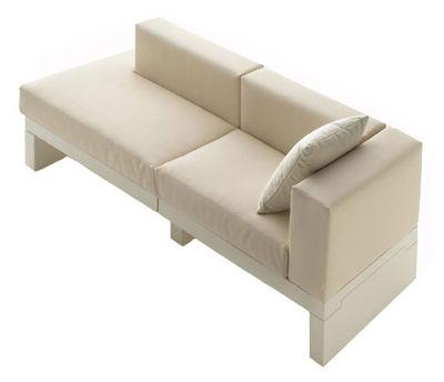 Möbel - Sofas - Bellini Hour Sofa Armlehne links - Serralunga - Cremefarbene Kissen / Armlehne links - Gewebe, Polyäthylen