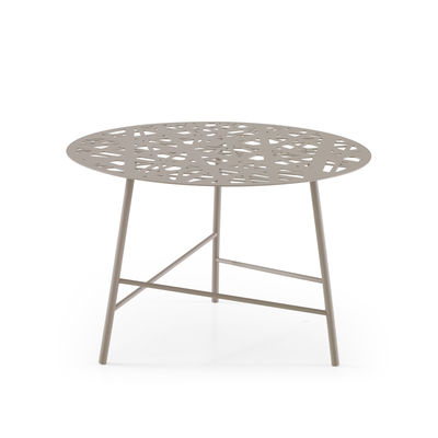 Table basse Ezou / Ø 61 cm - Métal perforé - Cinna gris en métal