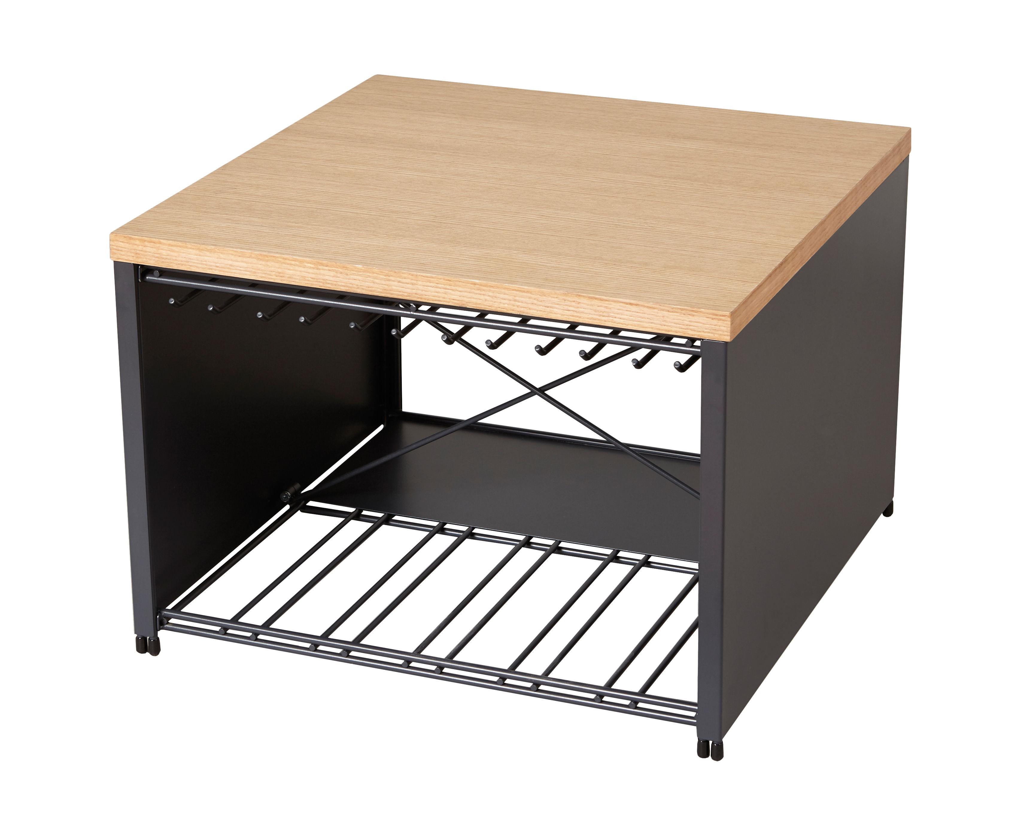 Mobilier - Tables basses - Table basse Petit Bar / Racks pour verres et bouteilles - 57 x 57 x H 40 cm - L'Atelier du Vin - Gris / Bois naturel - Acier peint, Bois