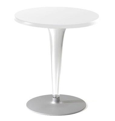 Mobilier - Tables - Table ronde Top Top / Laminé - Ø 70 cm - Kartell - Blanc/ pied rond - Aluminium verni, Laminé, PMMA