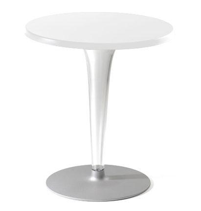 Mobilier - Tables - Table Top Top / Laminé - Ø 70 cm - Kartell - Blanc/ pied rond - Aluminium verni, Laminé, PMMA