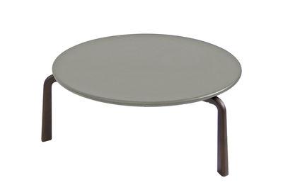 Arredamento - Tavolini  - Tavolino Cross Small - / Ø 70 cm - Metallo di Emu - Grigio / Piedi marrone d'India - Acciaio verniciato