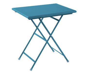 Outdoor - Tavoli  - Tavolo pieghevole Arc en Ciel - pieghevole - 70 x 50 cm di Emu - Azzurro - Acciaio verniciato