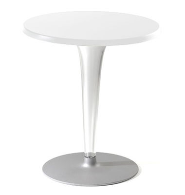 Furniture - Dining Tables - Top Top Round table - Laminated round table top by Kartell - White/ round leg - Laminate, PMMA, Varnished aluminium