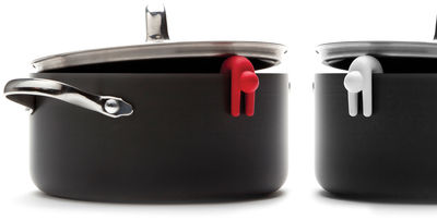 Accessoires - Praktische Accessoires - Lid sid Topfdeckelhalter / 2er-Set - Pa Design - Rot / weiß - Silikon