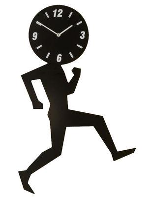 Decoration - Wall Clocks - Uomino Medium Wall clock - W 28 x H 45 cm by Diamantini & Domeniconi - Black - Lacquered stainless steel