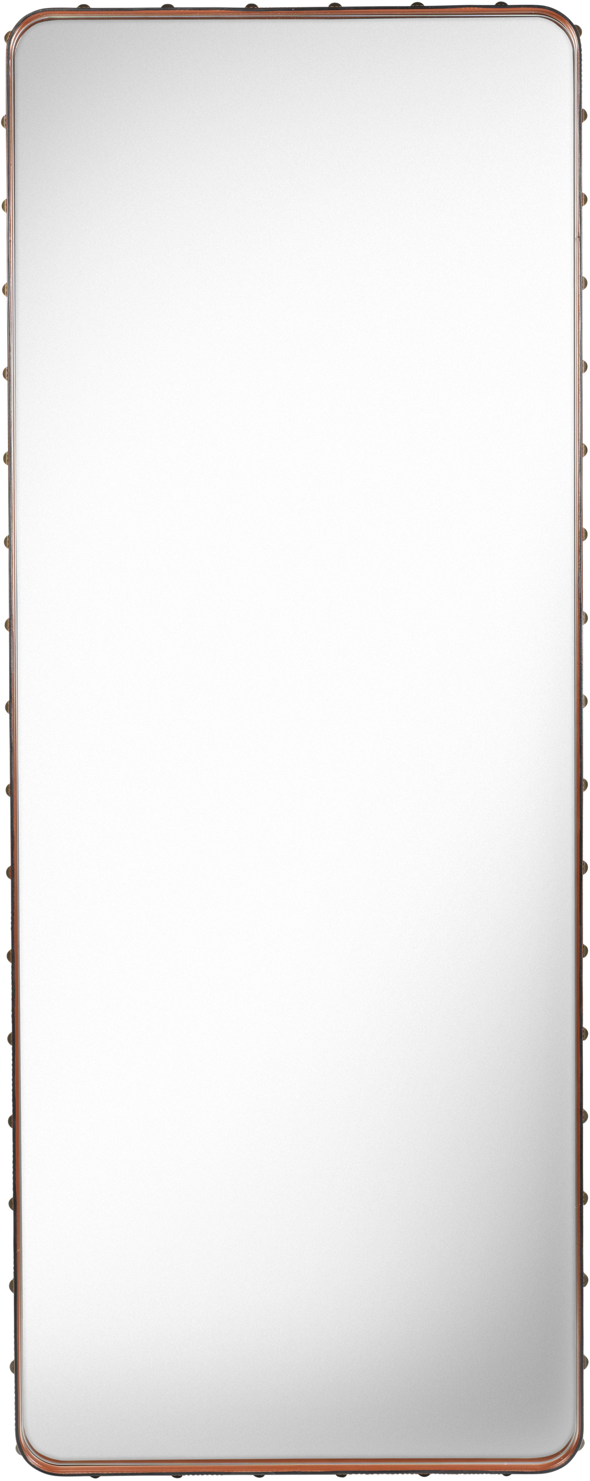 Decoration - Mirrors - Adnet Wall mirror - Rectangular - 180 x 70 cm by Gubi - Natural leather - Brass, Leather