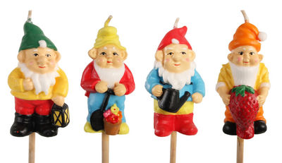 Outdoor - Garden ornaments & Accessories - Gnome Candle - On stock / Set of 3 by & klevering - Multicolore - Bamboo, Wax