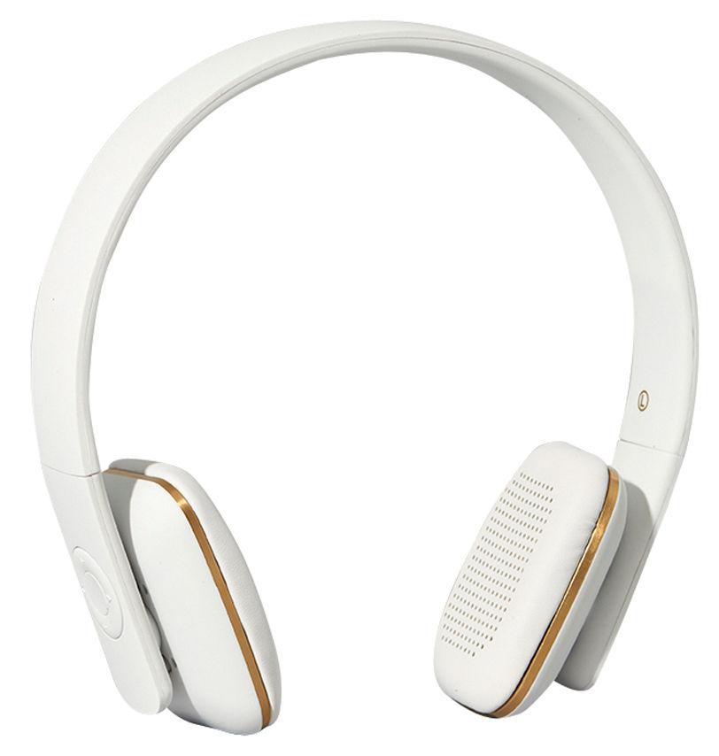 St-Valentin - Pour Elle - Casque audio sans fil A.HEAD / Bluetooth - Kreafunk - Blanc / Or - Cuir, Matière plastique