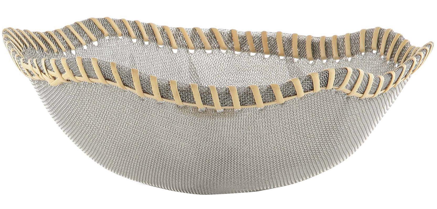 Tavola - Cesti, Fruttiere e Centrotavola - Cesto Peneira di Alessi - Acciaio - Fibra naturale - Fibra naturale, Rete d'acciaio