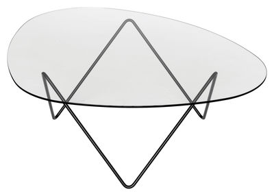 Furniture - Coffee Tables - Pedrera Coffee table - H 38 cm - Reissue 1955 by Gubi - Black leg / Transparent top - Glass, Painted steel