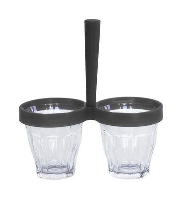 Coupelle Duo de choc / Kit coupelle apéro : 1 poignée + 2 verres Duralex - Designerbox transparent,gris anthracite en verre