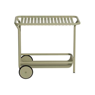 Mobilier - Compléments d'ameublement - Desserte Week-End / Aluminium - Roulettes - Petite Friture - Vert Jade - Aluminium thermolaqué époxy