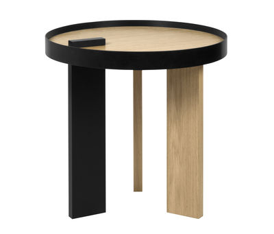 Furniture - Coffee Tables - Tokyo End table - / Wood & Metal - Ø 50 x H 50 cm by POP UP HOME - Oak & Black - Honeycomb panels, Lacquered metal