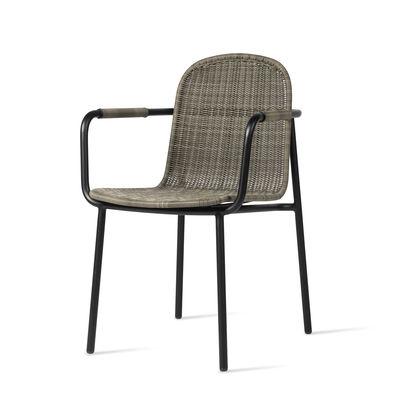 Mobilier - Chaises, fauteuils de salle à manger - Fauteuil Wicked / Polyéthylène tissé main - Vincent Sheppard - Taupe & noir - Aluminium thermolaqué, Résine polyéthylène