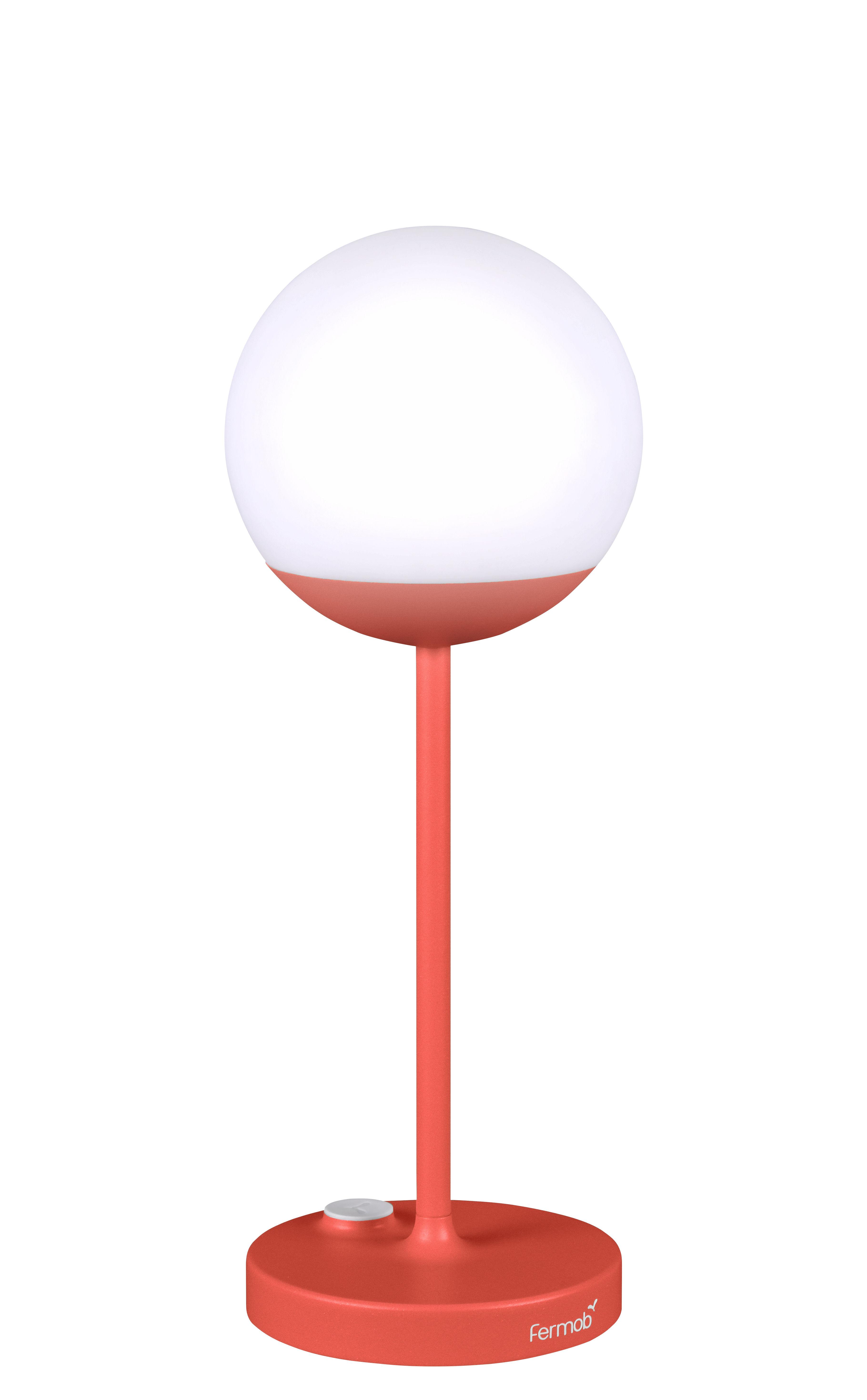 Leuchten - Tischleuchten - Mooon! LED Lampe ohne Kabel / H 41 cm - mit USB-Ladekabel - Fermob - Capucine - Aluminium, Polyäthylen
