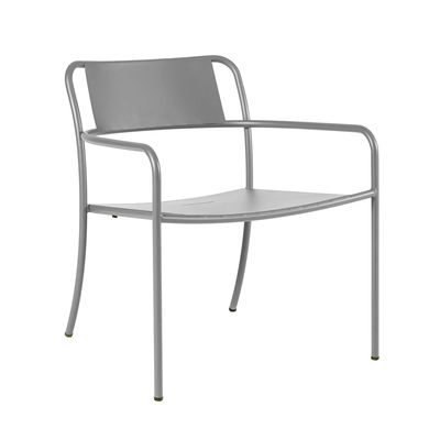 Furniture - Armchairs - Patio Low armchair - / Stainless steel by Tolix - Mouse grey - Stainless steel