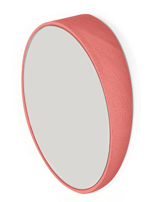 Déco - Miroirs - Miroir Odilon Small / Ø 25 cm - à poser ou suspendre - Hartô - Corail - Chêne, Miroir